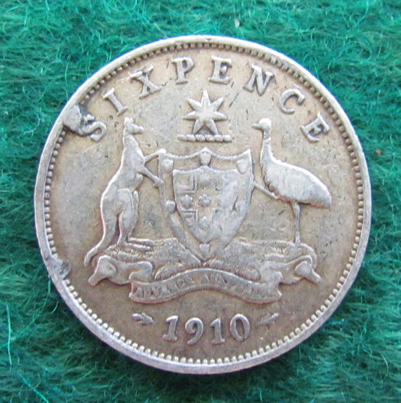 Australian 1910 Sixpence King Edward VII Coin Variety - Circulated