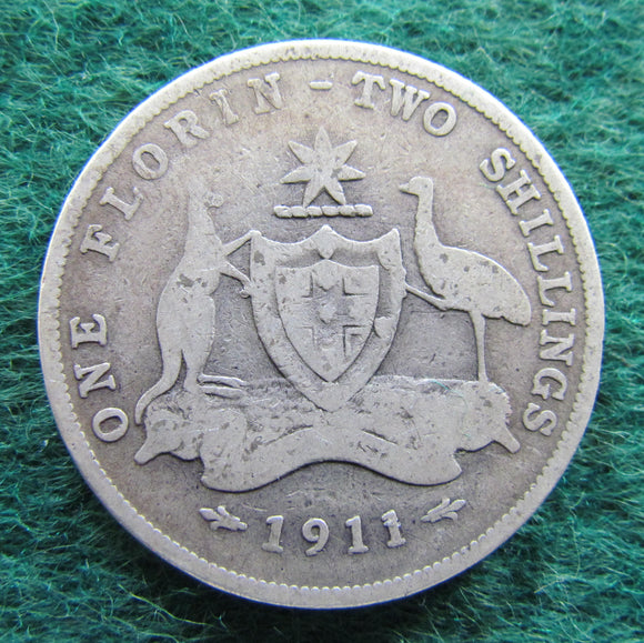 Australian 1911 Florin King George V Coin - Circulated