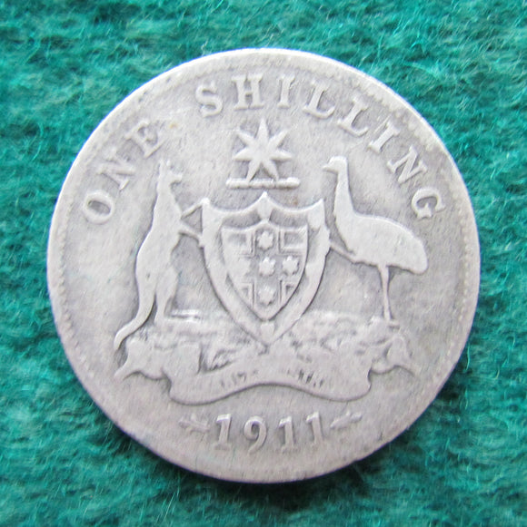 Australian 1911 Shilling Coin King George V Circulated