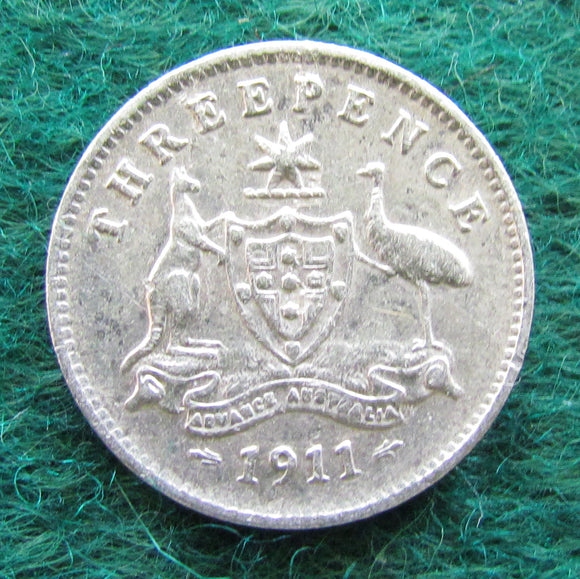Australian 1911 Threepence King George V Coin Circulated