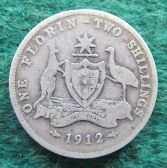 Australian 1912 Florin King George V Coin - Circulated