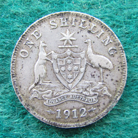 Australian 1912 Shilling Coin King George V Circulated