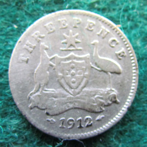 Australian 1912 Threepence King George V Coin Circulated