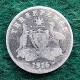 Australian 1916 M Threepence King George V Coin Circulated