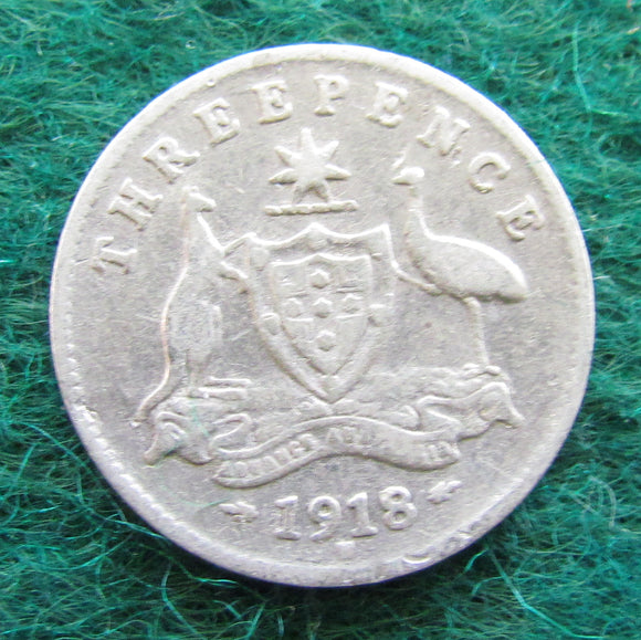 Australian 1918 M Threepence King George V Coin Circulated