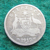 Australian 1919 M Sixpence King George V Coin - Circulated