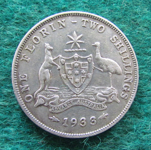 Australian 1933 Florin King George V Coin - Circulated
