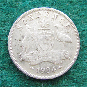 Australian 1934 Sixpence King George V Coin - Circulated