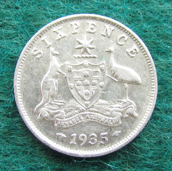 Australian 1935 Sixpence King George V Coin - Circulated