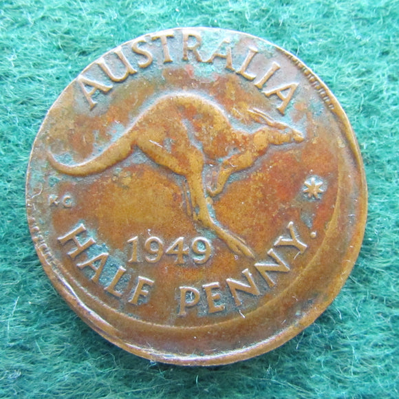 Australian 1949 Half Penny King George VI Coin - Off Centre Strike Variety