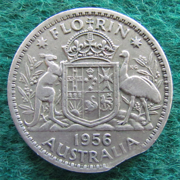 Australian 1956 Florin Queen Elizabeth II Coin Mint Clipped Variety - Circulated