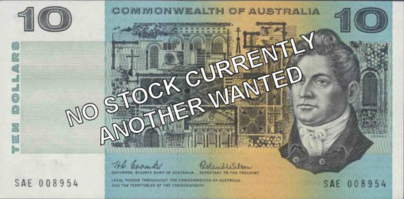 Australian 1966 10 Dollar Coombs Wilson COA Banknote s/n - Circulated