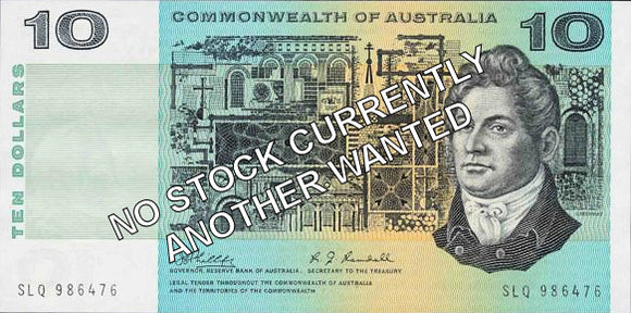 Australian 1967 10 Dollar Coombs Randall COA Banknote s/n - Circulated