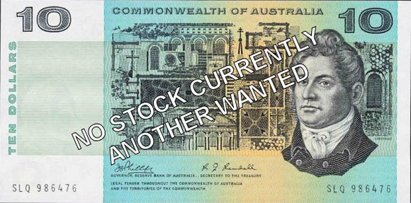 Australian 1972 10 Dollar Phillips Wheeler COA Banknote s/n - Circulated