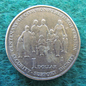 Australian 2009 1 Dollar Centenary Of Commonwealth Aged Pension Queen Elizabeth Coin - Circulated
