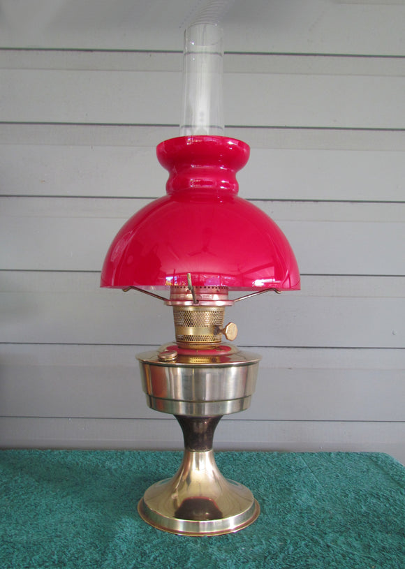 Aladdin Brass Oil Lamp With Red Cased Glass Shade