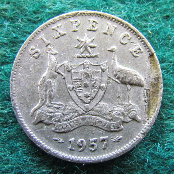 Australian 1957 Sixpence Queen Elizabeth II - Lamination Error - Variety - Circulated