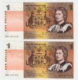 Australian 1982 1 Dollar  Johnston Stone Banknote Consecutive Run of 5 s/n's DKS 361218 To 22
