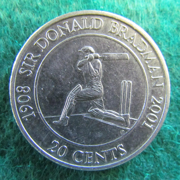 Australian 2001 20 Cent Sir Donald Bradman Queen Elizabeth Coin - Circulated