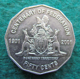Australian 2001 50 Cent Coin Centenary Of Federation Northern Terrirory