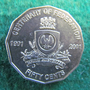 Australian 2001 50 Cent Coin Centenary Of Federation South Australia