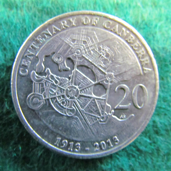 Australian 2013 20 Cent Coin Centenary Of Canberra - Circulated