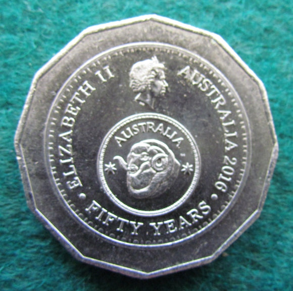 Australian 2016 50 Cent Coin Rams Head - 50 Years Of Decimal Currency
