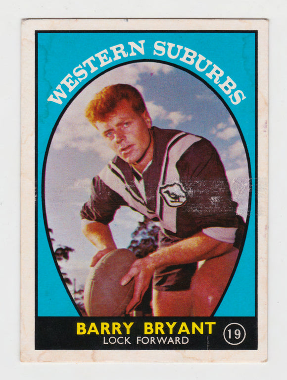 Scanlens 1968 A Grade NRL Football Card  #19 - Barry Bryant - Western Suburbs