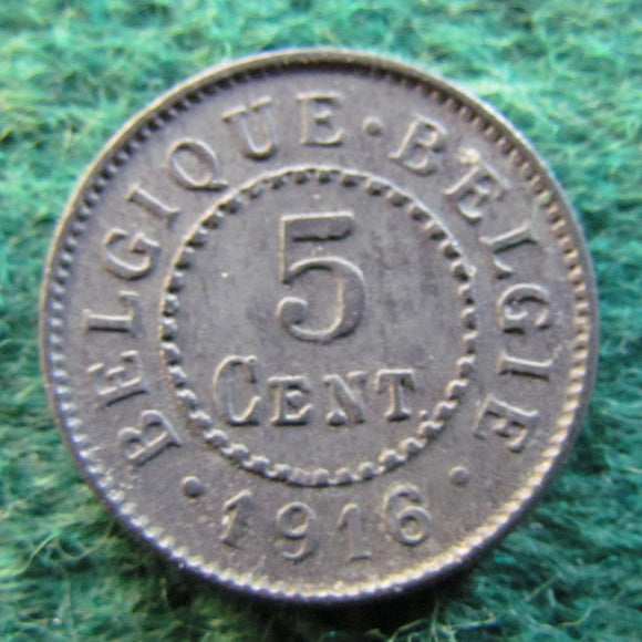Belgium 1916 5 Centimes Coin German Occupation Currency - Circulated
