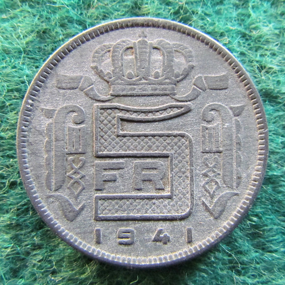 Belgium 1941 5 Franc Coin - WWII Currency - Circulated