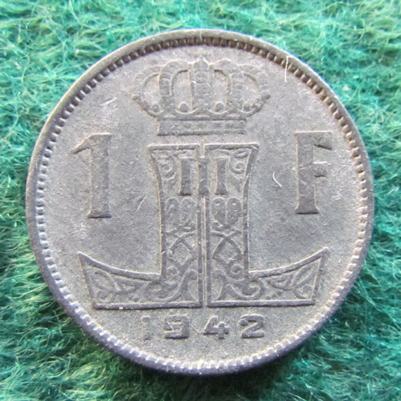 Belgium 1942 1 Franc Coin - WWII Currency - Circulated