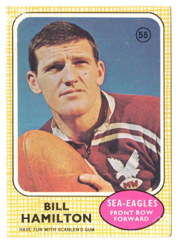 Scanlens 1970 NRL Football Card #55 - Bill Hamilton - Sea Eagles