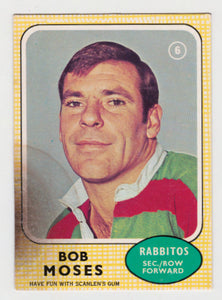 Scanlens 1970 NRL Football Card #06 - Bob Moses - Rabbitos