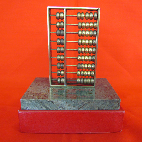 Brass Abacus With Green Stone Stand In Original Box
