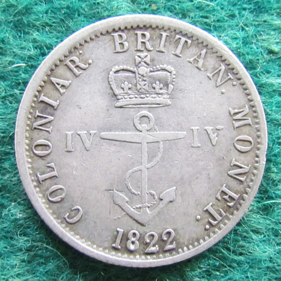 British West Indies 1822 Anchor Money 1/4 Dollar Silver Coin Quarter Dollar Coin
