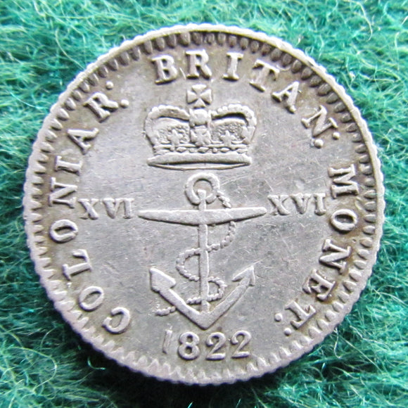 British West Indies 1822 Anchor Money 1/16 Dollar Silver Coin Sixteenth Dollar Coin