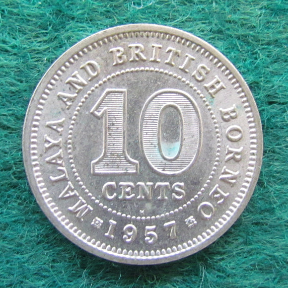 British Borneo 1957 Ten Cent Queen Elizabeth II Coin - Circulated