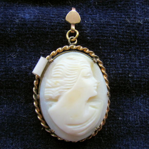 10ct Lined Cameo Pendant c1950