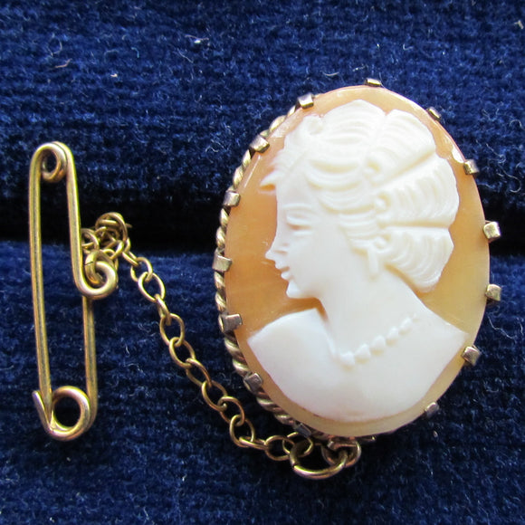 Gilt Silver Cameo Brooch With Safety Chain