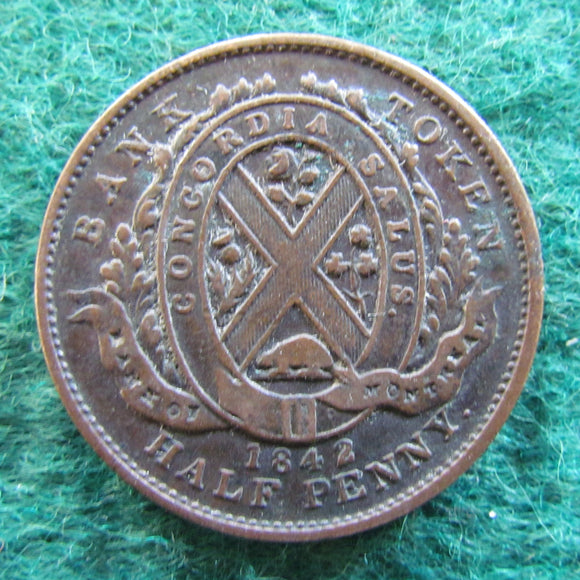 Canada 1842 1/2 Half Penny Bank Token Province Of Canada Bank of Montreal Coin