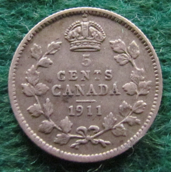 Canada 1911 5 Cent King George V Coin