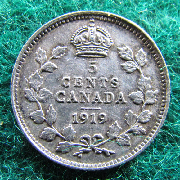 Canada 1919 5 Cent King George V Coin