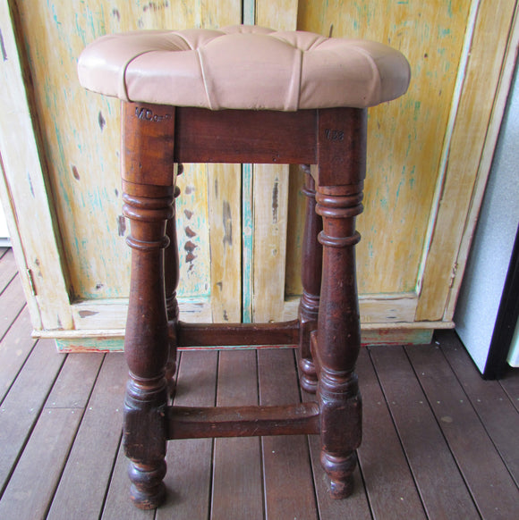 Australian Cedar Oval Top Tall Stool Ex Sydney Town Hall Impressed MC of S c1900
