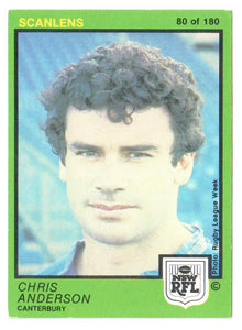 Scanlens 1982 NSW RFL Football Card 80 of 180 - Chris Anderson - Canterbury