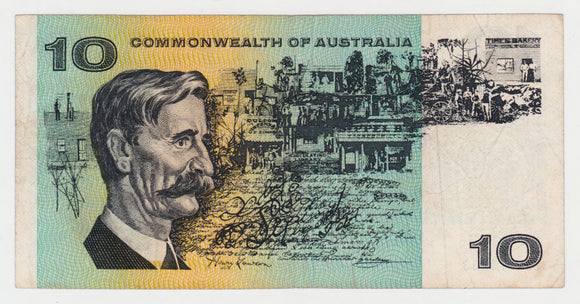 Australian 1968 10 Dollar Phillips Randall COA Banknote s/n SGJ 118253 -  Circulated