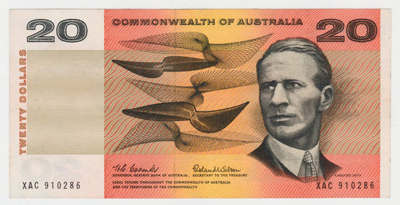 Australian 1966 20 Dollar Coombs Wilson COA Banknote s/n XAC 910286 - Circulated