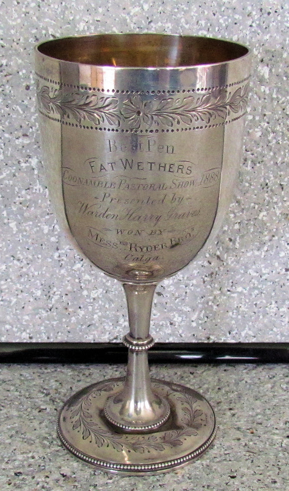 Coonamble Show Presentation Trophy 1888 Won By Messers Ryder Brothers Calga Station in Sterling Silver