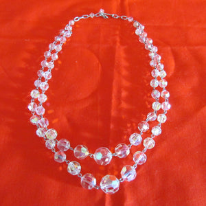 Crystal Double Strand Necklace With Lustre Finish