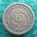 Germany 1924 D 10 Pfennig Coin - Circulated