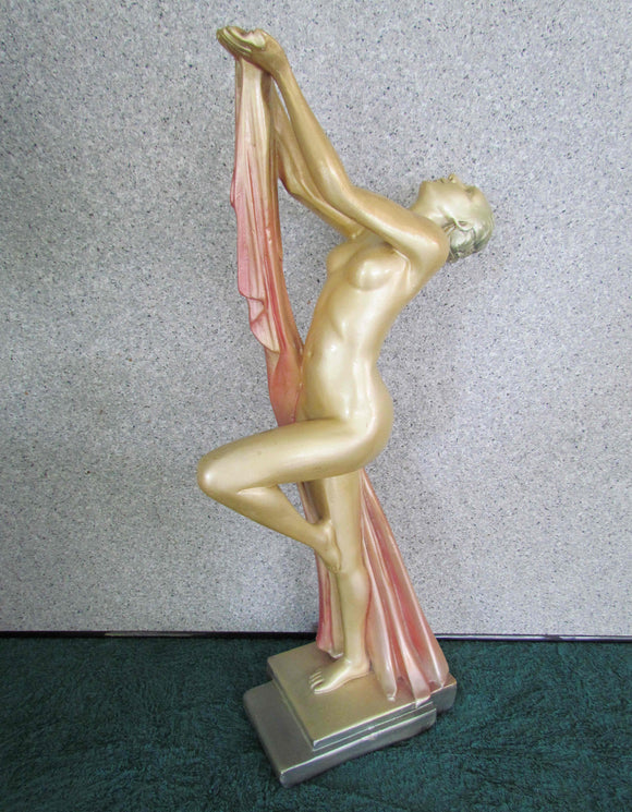 Leonardi Art Deco Naked Lady Draped Figure In Plaster Chalkware Leonardene Nude c1930